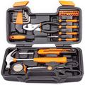 Cartman Orange 39-Piece Cutting Plier Tool Set - General Household Hand Tool Kit with Plastic Toolbox Storage Case