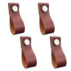 4 Pcs Leather Cabinet Drawer Pulls Knobs, Handmade Leather Cabinet Drawer Handle,Dresser Drawer Door Handle Kitchen Pulls Knob with Screw Brown