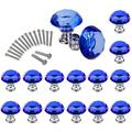 16 Pcs Drawer Knobs, 30mm Crystal Glass Cabinet Knobs Dresser Knobs Diamond Shape Drawer Kitchen Cabinets Dresser Cupboard Wardrobe Pulls Handles Glass Cabinet Knobs (Blue)