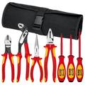 KNIPEX Tools 98 98 25 US, 1000V Insulated Pliers, Cutters, and Screwdriver Commercial Tool Set, 7-Piece