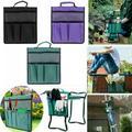 Yinrunx Garden Tools Bag Set Portable Oxford Gardening Storage Organizer Tote Bag with Handle Pockets Waterproof Multifunction Gardening Hand Tool Storage Stool Pouch Cart Storage Pouch Toolkit Purple