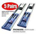 Promark 100LB Capacity Full Extension Soft/Self Closing Side Mount Drawer Slides (18 Inches-5 Pack)