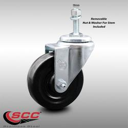 """Stainless Steel Hard Rubber Swivel Threaded Stem Caster w/4"""" x 1.25"""" Black Wheel and 10MM Metric Stem - 300 lbs Capacity/Caster - Service Caster Brand"""