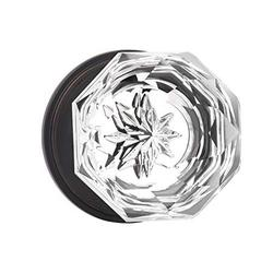 Classic Tulip Crystal Door Knobs 2 Pack, Passage Function for Hall and Closet, Oil Rubbed Bronze Finish