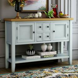 """Buffet Cabinet, Kitchen Storage Cabinet, Sideboard Buffet Storage Cabinet w/ 1 Shelf, 2 Cabinets, 4 Storage Drawers, TV Standfor Kitchen Office Bedroom, 46"""" x 15"""" x 34"""", Lime White, Q3733"""