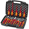 KNIPEX Tools 98 98 31 US, 1000V Insulated High Leverage Pliers, Cutters, and Screwdriver Industrial Tool Set, 10-Piece
