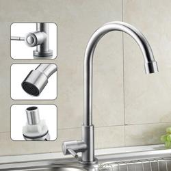 360 Degree Stainless Steel Faucet Stainless Steel Single Lever Spout Kitchen Cold Water Sink Tap/Kitchen Mixer Tap Kitchen Faucet Basin Sink Tap Single Lever Only For Cold Water