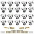 Sumnacon 20 Pcs 40MM (157inch) Clear Crystal Door Knobs - Diamond Wardrobe DoorknobCrystal Drawer KnobsCabinet Handle PullsCupboard Handle KnobsDoor Pull Handle with Screws with 3 Kinds Screws