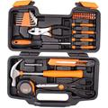 39-Piece Cutting Plier Tool Set - General Household Hand Tool Kit with Plastic Toolbox Storage Case - Orange