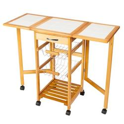 """Foldable Storage Carts, Microwave Oven Stand Storage Cart with a Drawer, 2 Pull-out Iron Baskets, an Open Shelf, Heavy Duty Rustproof Microwave Cabinet with Storage, 36"""" x 14.6"""" x 29""""Â , Q3516"""