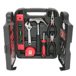 General Household Hand Tool Kit, YOFE 136 Pcs Home Tool Kit, Mechanics Hand Tool Set with Tool Case, Auto Mechanics Tool Kit, Home Repair Basic Tool Kit Sets for Home Maintenance, Red/Black, R3663