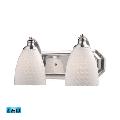 Bath Lighting 2 Light LED With Satin Nickel Finish Glass: White Swirl Glass 14 inch 27 Watts - World of Lamp
