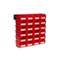 "Triton Products® LocBin 26-Piece Wall Storage Unit with 5-3/8""L x 4-1/8""W x 3""H Interlocking Poly Bins, 24ct, Wall Mount Rails 8-3/4""L with Hardware, 2pk"