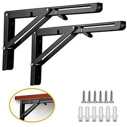 Folding Shelf Brackets, 2 Pcs 16 Inch Heavy Duty Metal Collapsible Shelf Bracket for Bench Table, Wall Mounted DIY Triangle Brackets with Screws, Space Saving Max Load 198 lb