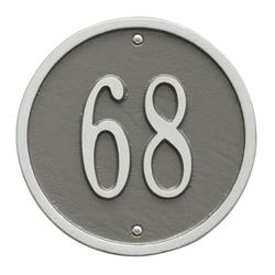 Personalized Whitehall Products 6-Inch One-Line Round Address Plaque in Pewter Silver