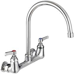 MSTJRY Commercial Wall Mount Faucet, Commercial Sink Faucet with 8 Inch Spout, 8 Inch Center 2-Handle, Heavy Duty, Brass Constructed