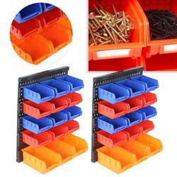Zerodis Garage Wall Mounted Containers,Wall Mounted Storage Bins,30Pcs Wall Mounted Storage Bins Set Garage Workshop Tools Holders Organiser Rack