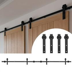 DOACT Barn Door Rail,Barn Door Hanging Rail,8FT Double Door Splicing Regular Carbon Steel Barn Door Hanging Rail