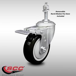 "Stainless Steel Polyurethane Swivel Threaded Stem Caster w/4"" x 1.25"" Black Wheel and 3/8"" Stem & Total Locking Brake - 300 lbs Capacity/Caster - Service Caster Brand"