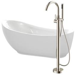 Anzzi FTAZ090-0025B 30 x 35 x 71 in. Talyah Acrylic Flatbottom Non-Whirlpool Bathtub in White with Kros Faucet, Brushed Nickel