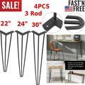 """30"""" 4 PCS 3 Rod Hairpin Legs 9.5mm U Shaped Furniture Legs Steel Desk Legs"""