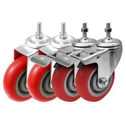"FactorDuty 4 Inch RED Caster Wheel Combo 2 No Brake & 2 Dual Locking Brake 3/8""-1.2"" Threaded Stem Mount Caster Wheel Polyurethane Wheels Premium Non Marking No Noise 300LB Per Wheel (Pack of 4)"