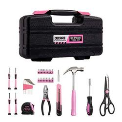 DeCare 39-Piece Tool Kit Tool Set - Household Hand Tool Kit Repair Tools Set with Portable Toolbox Storage Case (39-Piece Pink)