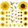 39 PCS Sunflower Wall Stickers with 3D Butterfly Wall Sticker, Yellow Flowers Decal, Gold 3D Butterfly Metallic Wall Stickers, Removable Mural Stickers Wall Decals for Bedroom Decor