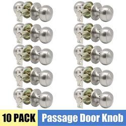 Interior Keyless Hall and Closet Door Knobs Passage Door Sets Flat Ball Brushed Nickel Finish 10 Pack