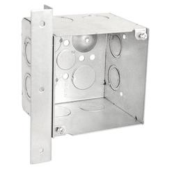 """1 Pc, 4"""" Square, 3-1/2 In. Extra Deep Junction Box, Vertical Right Angle Bracket, Knockouts: Side: (4) 1/2-3/4 In (2) 3/4 In. & (2) 1 In.; Bottom (2) 1/2 In. & (2) 3/4 In, Zinc Plated Steel"""