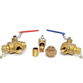 """3/4"""" Tankless Water Heater Isolation Service Installation Valve Kit Hot Cold Relief Valves NSF-61 Clean Brass No Lead Full Port Flush 3/4-Inch"""