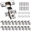 """20 Pack Soft Close Cabinet Door Hinges for 1/2"""" Partial Overlay Cupboard, 100 Degree Opening Angel, Stainless Concealed Kitchen Cabinet Hinges with Mounting Screws and Manual"""
