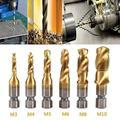 FAGINEY 6pcs Metric Thread M3-M10 Titanium Coated HSS Drill and Tap Bits 1/4 Hex Shank, Screw Taps Tool Set, Thread Tap Tool