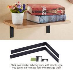 Gupbes Shelf Bracket, Metal Shelf Bracket,1 Pair Iron Heavy Duty Shelf Wall Brackets for Wooden Storage Organizer Shelves DIY Home Decor