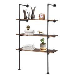 Winado 2 PCS Wall Mount Iron Hanging Pipe Shelf Bracket,Storage Shelving Industrial Bookshelf(4 Tier Hardware only)