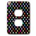 3dRose Colorful Polka dot pattern on black - Rainbow Multicolor Cute Dots and Spots Patterns - 2 Plug Outlet Cover (lsp_56682_6)