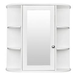 3-Tier Single Door Mirror Indoor Bathroom Wall Mounted Cabinet Shelf White Bathroom Cabinet, Mirrored Storage Medicine Cabinet,Multipurpose Cabinet for Bathroom,Vestibule,Bedroom