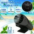Portable mini fan, 3.5 Inch Desk Fan Clip on Waist, Rechargeable Battery Operated USB Fan, 3 Speeds Fast Air Circulating Fan Waist Hanging Fan for Travel Camping Outdoor