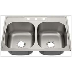 American Imaginations AI-29362 33 x 22 in. Double Basin Drop-in Kitchen Sink, Brushed Nickel