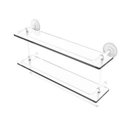 22 Inch Gallery Double Glass Shelf with Towel Bar