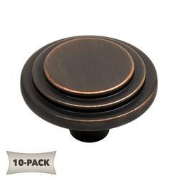 10-Pack Multi-Ridge Round Kitchen Bath Cabinet Hardware Knob 1-1/4 Inch, Oil Rubbed Bronze