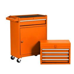 5 Drawer Mechanic Tool Box Rolling Garage Toolbox Storage Organizer Tool Chest Cabinet on Wheels Top Detachable Tool Chest Sliding Drawers for Workshop Orange