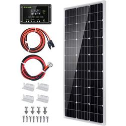 Solar Panel Kit 100 Watt 12 Volt Monocrystalline Off Grid System for Homes RV Boat + 20A 12V/24V Solar Charge Controller + 16ft Solar Cables + Z-Brackets for Mounting