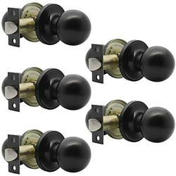 Probrico Matte Black Hall/Closet Door Knobs, Round Ball Passage Door Knobs for Interior Door, Keyless Non-Locking Door Handles, 5 Pack