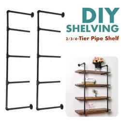 2Pcs AUGIENB 3/4-Tier Industrial Iron Pipe Shelf Brackets Wall-Mounted Bookshelf Frame, Customizable DIY Shelving, Floating Open Display Storage for Home, Office, Commercial Use