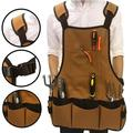 Yesbay Garden BBQ Tool Bag Adjustable Strap Storage Pockets Pouch Electrician Apron Coffee