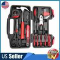 AMSUPER 39-piece universal tool set-basic household hand tool set with portable tool box storage box (red combination pliers)