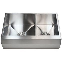 33-Inch Stainless Steel Double Well Angled Apron 33-inch 16 Gauge Stainless Steel Farm Apron 60/ 40 Well Angled Double Bowl Kitchen Sink