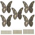 JuxYes Pack of 5 Vintage Butterfly Drawer Knobs, Antique Drawer Pulls Retro Decorative Cabinet Handle Knobs Cupboard Door Knobs for Dresser Drawer Cabinet Closet