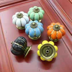 Windfall 1pc Pull Knob, Pumpkin Ceramic Cabinet Wardrobe Drawer Cupboard Furniture Knob Pull Handle Dresser Knob